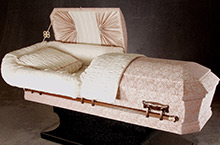 Lawton Oval Casket, Pressed Wood Construction Rose Cedar/Silver Octagon Cloth Covering, Rosetan/White Crepe Interior
