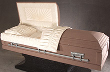 Tan Phoenix Casket, Pressed Wood Construction Tan Phoenix Cloth Covering, Ivory Crepe Interior