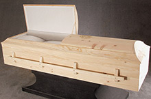 Jacob Natural Pine Casket, Solid Pine Traditional Construction Sanded Unfinished Pine, White Flat Crepe Interior