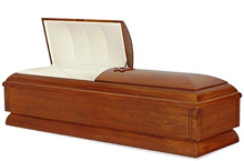 Jahleel Casket, Solid Poplar Traditional Construction, Satin Early American Shaded Finish, Rosetan Crepe Interior