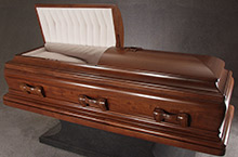 Concord Casket, Solid Plank Mahogany Traditional Construction Medium Oil Rubbed Walnut Finish Beige Velvet Hand-Tufted Interior