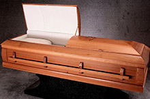Redwood Clear Casket, Solid Redwood Traditional Construction Natural Redwood Finish, Ivory Crepe Interior