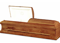 Tohar Casket, Maple Traditional Construction, Polished Caramel Finish, Natural Cotton Interior